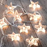 HANGQI 20 Led Star Fairy String Lights Battery Operated Lanterns Christmas Party Bedroom (Warm White)