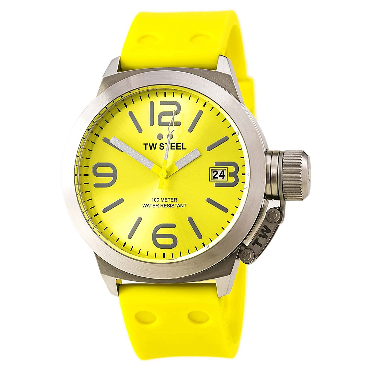 marine bezel ulysse dial yellow nardin watches strap diver maxi watch