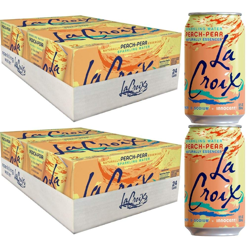 QAWS Peach Pear Sparkling Water, 12 Ounce (24 Cans) (2 Pack)