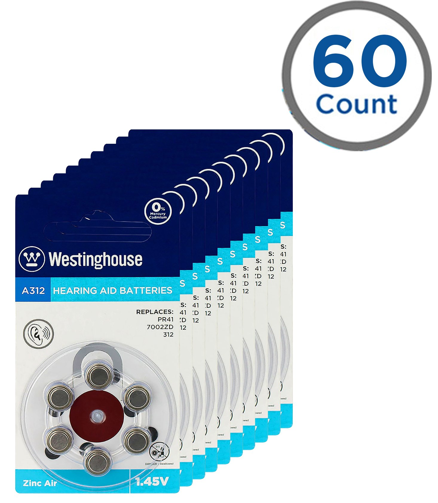 Westinghouse Hearing aid Battery A312, Zinc Air Batteries, Mercury Free (A312, 60 Counts)
