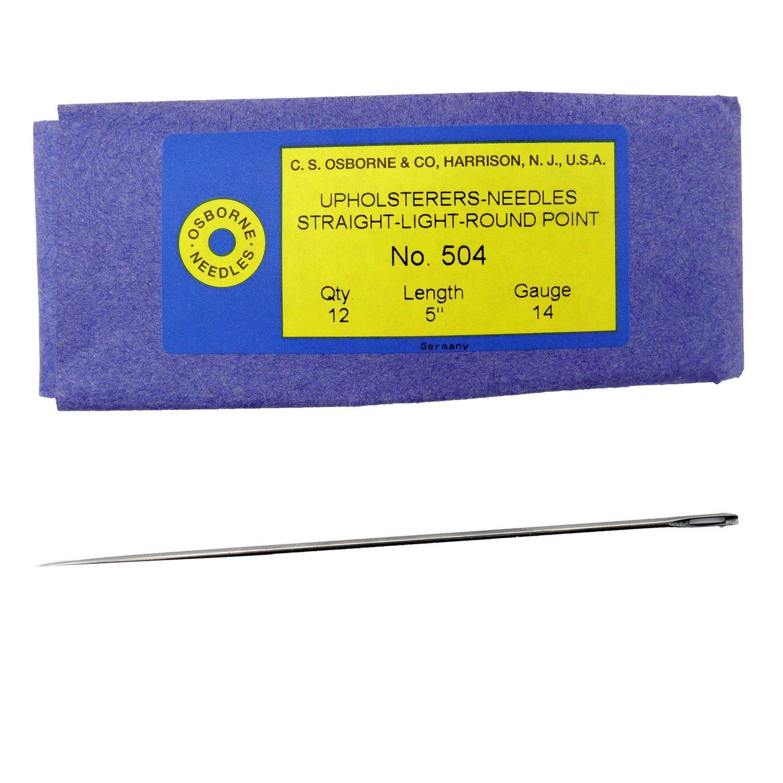 14 Gauge Osborne 12 Pk 5 Long Straight Single Round Point Needle #504 C.S