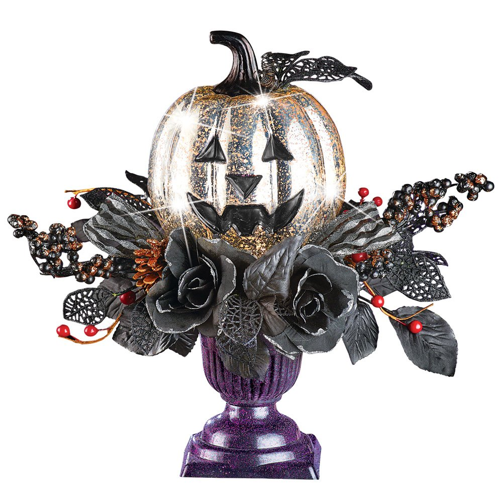 Collections Etc Lighted Spooky Silver Pumpkin and Black Foliage Centerpiece in Purple Pot Tabletop Halloween Decoration Winston Brands