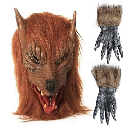 XFUNY máscara de Halloween máscara de calavera cabeza de lobo hombre lobo y lobo garra guantes