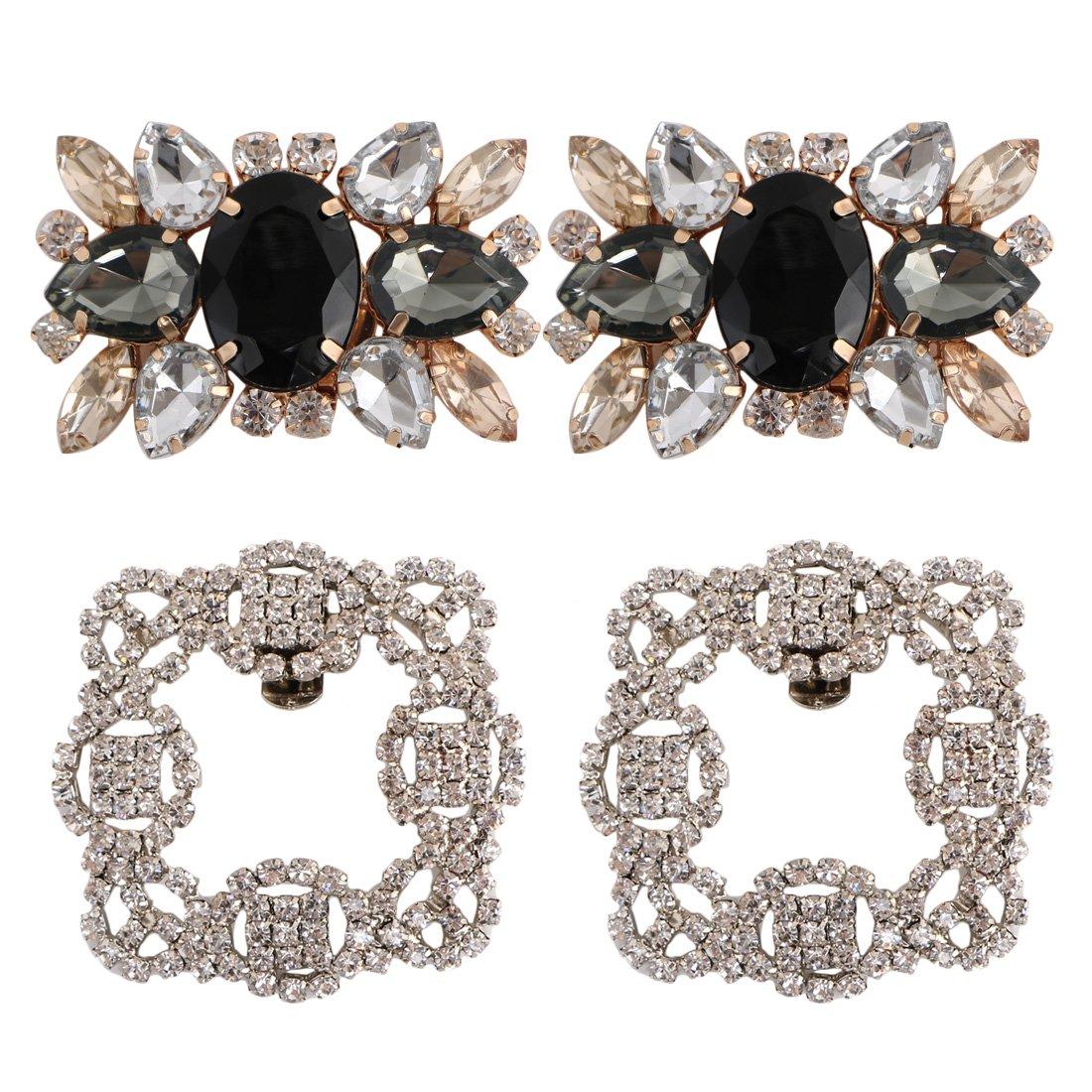kilofly 2 Pairs Elegant Rhinestone Crystal Metal Shoe Clips Wedding Party Pack