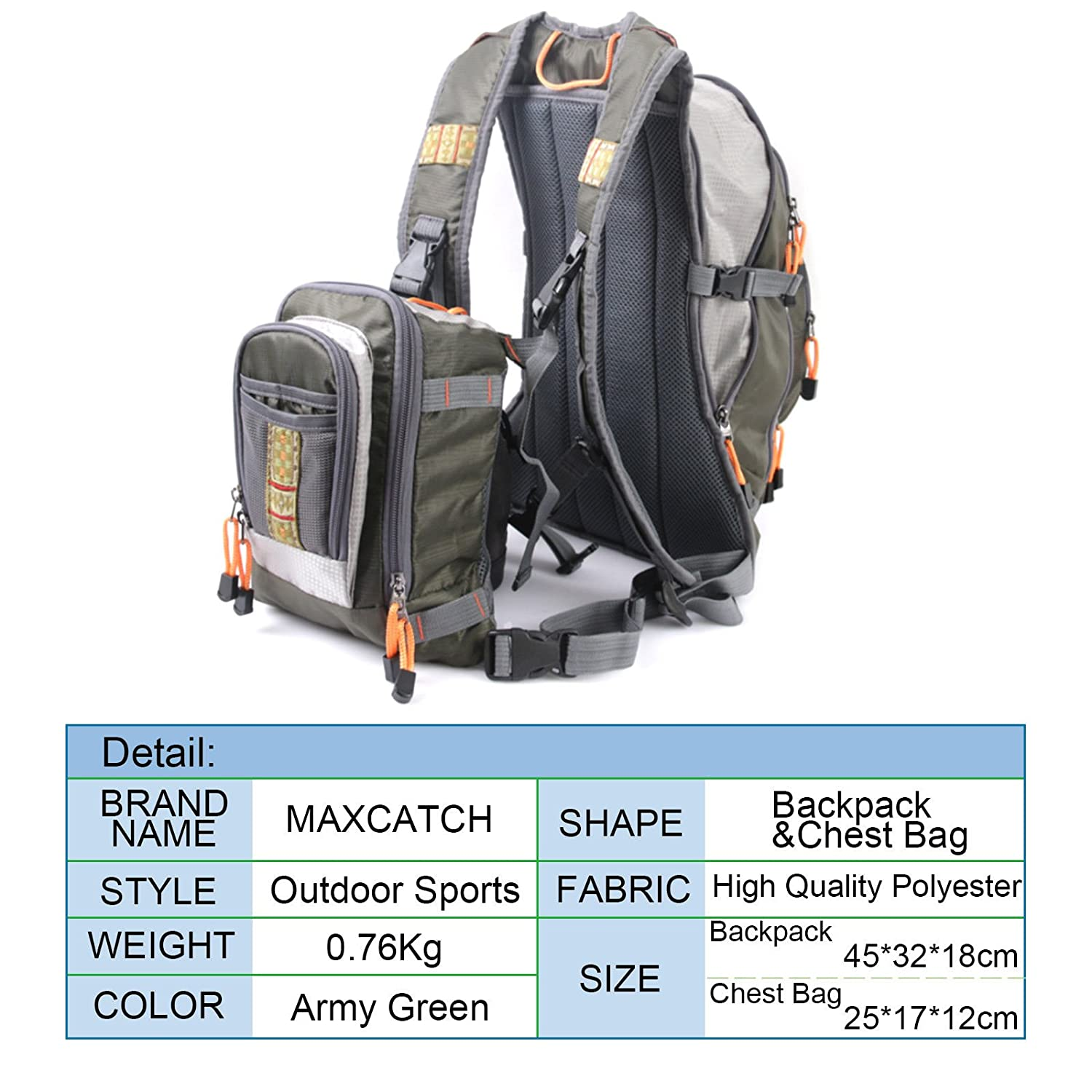M MAXIMUMCATCH Maxcatch Fly Fishing Backpack with Tackle Chest Pack, Adjustable Size
