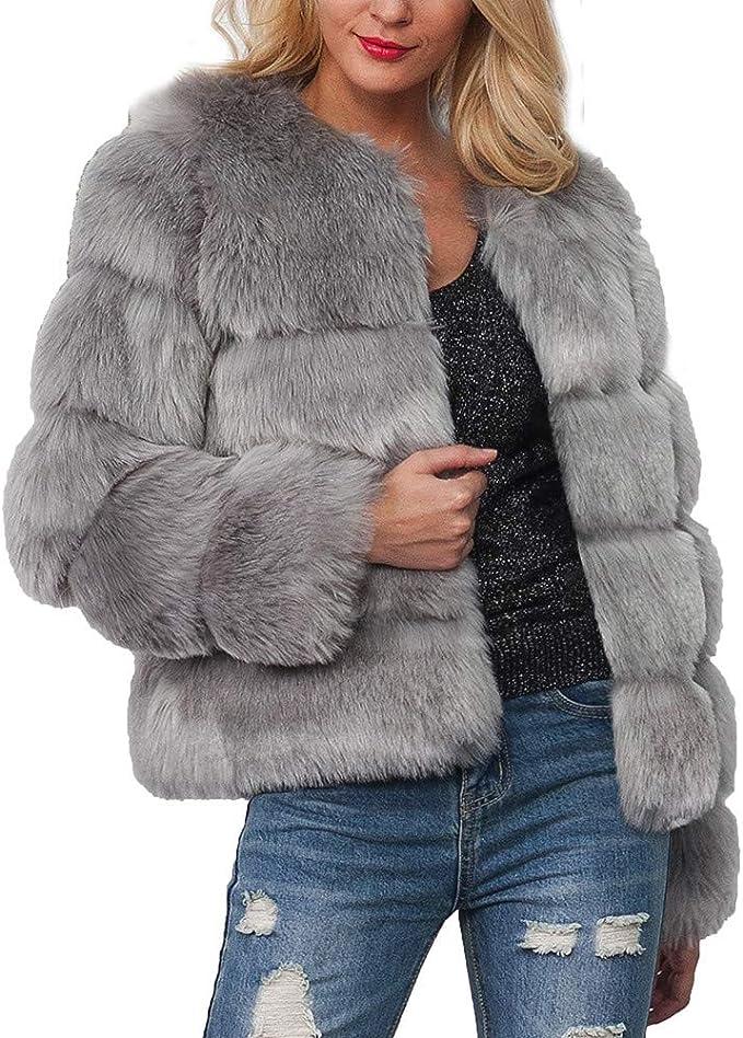 Damen Mantel Fellmantel,Winter Pelzmantel Kunstfell Winterjacke Fur Jacke stylischer Einfarbig Jacke Damen Winter Warm Elegant Mantel mit Kapuze TWBB