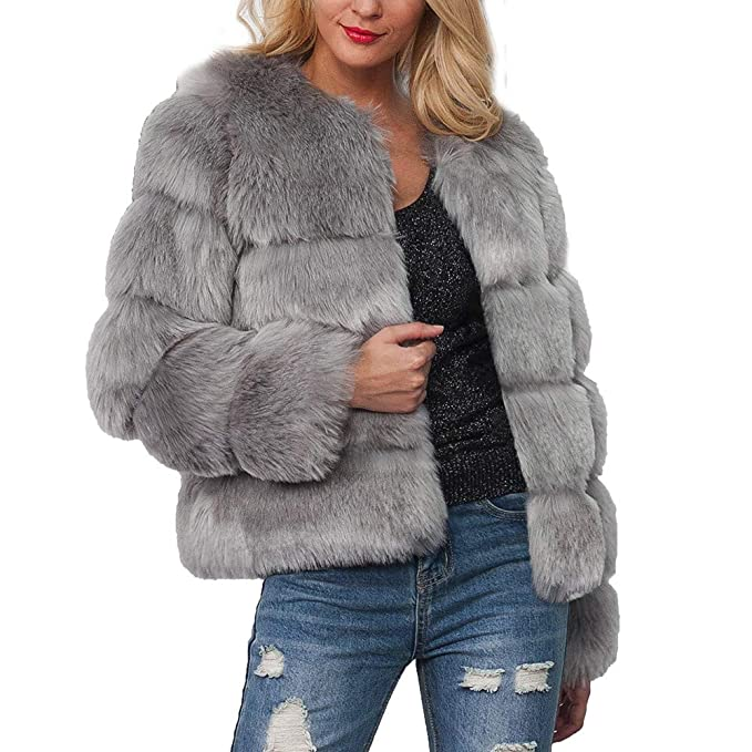 Sunward Women Elegant Winter Warm Fluffy Faux Fur Short Coat Jacket Parka Outwear