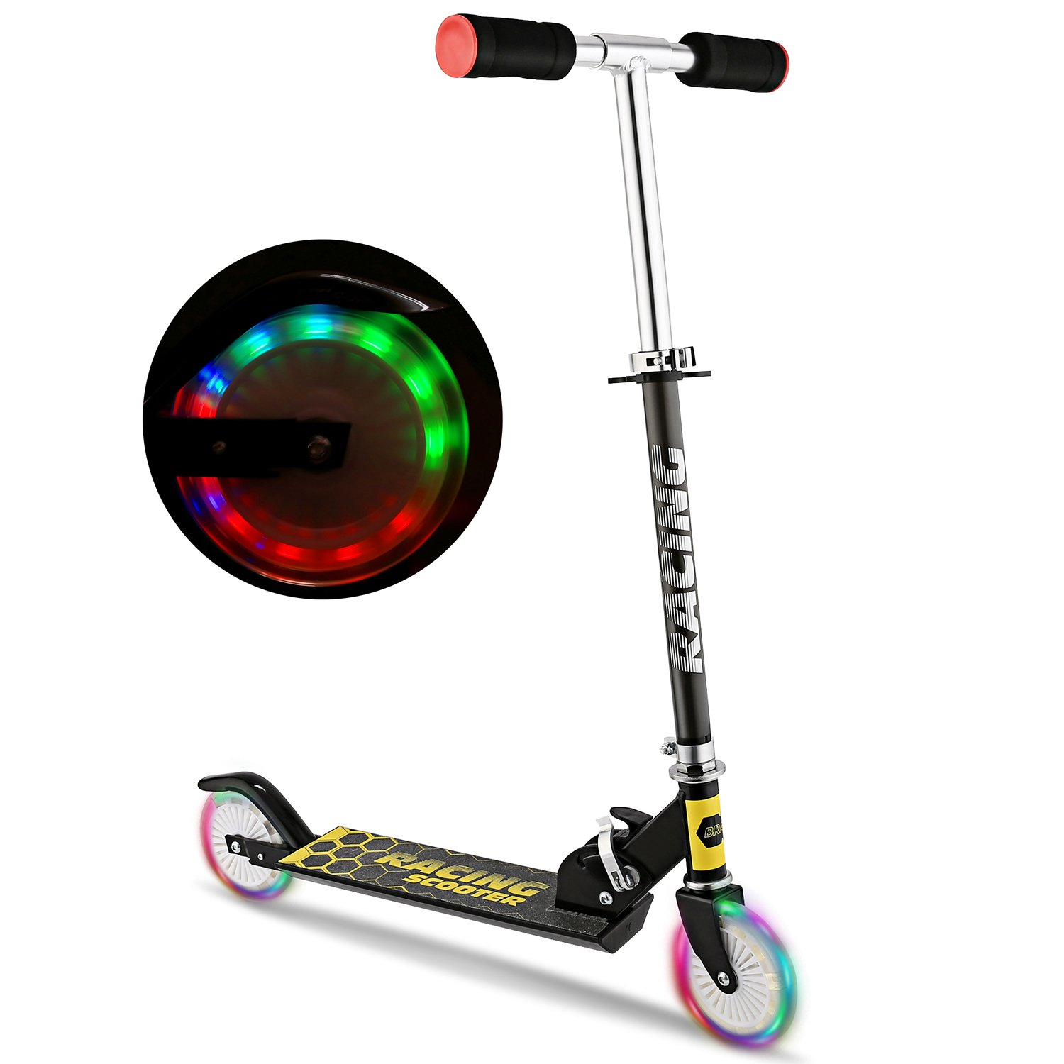 WeSkate B3 Scooter for Kids with LED Light Up Wheels, Adjustable Height Kick Scooters for Boys and Girls, Rear Fender Break|5lb Lightweight Folding Kids Scooter, 110lb Weight Capacity (Black/B3/FBA) by WeSkate