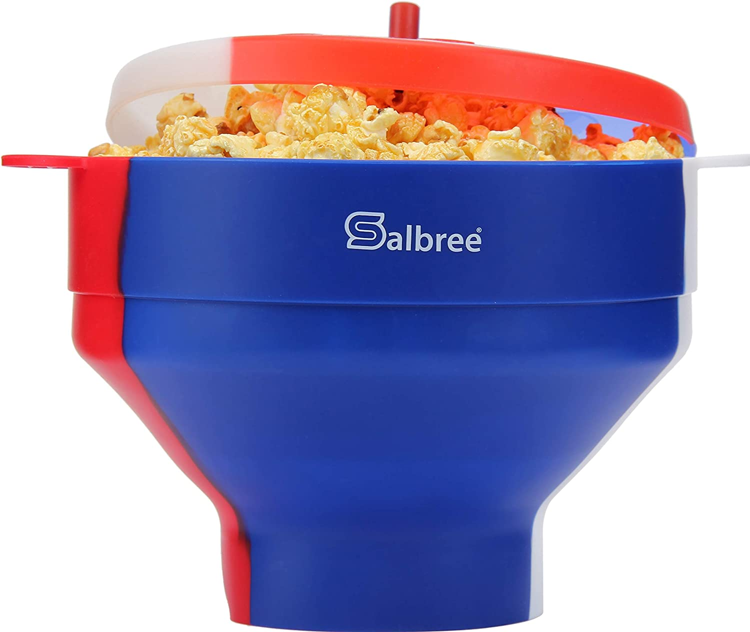 Original Salbree Red White & Blue, American Pride, Microwave Popcorn Popper, Silicone Popcorn Maker, Collapsible Bowl BPA Free - 18 Colors Available (Red/White/Blue)