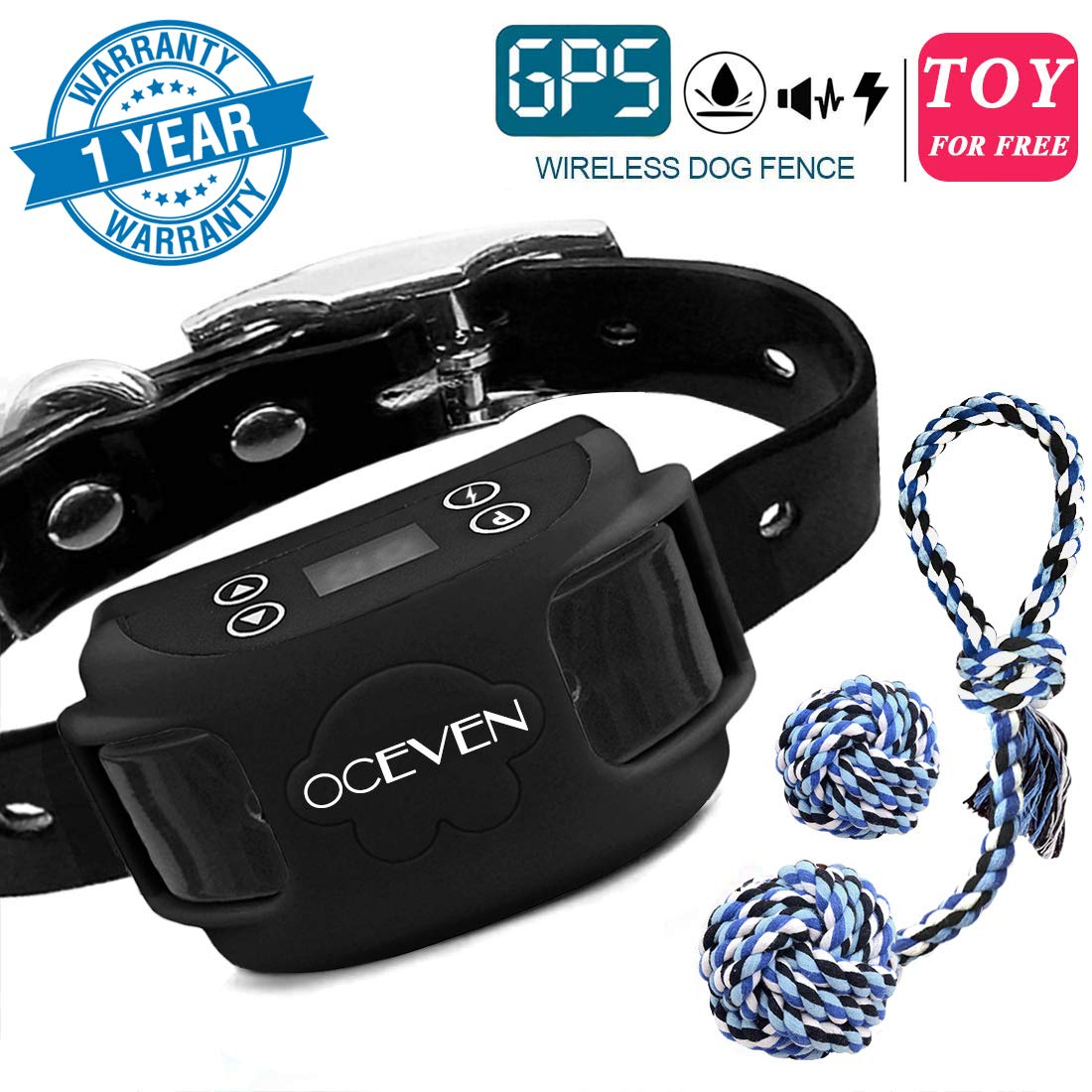 OCEVEN Wireless Dog Fence System with GPS, Outdoor Pet Containment System Rechargeable Waterproof Collar EF851S, Black, for 15lbs-120lbs Dogs with 2pcs Toys for Free