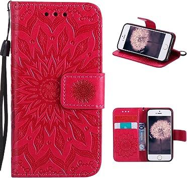 Housse en Cuir iPhone 5S, Coque iPhone 5 Portefeuille, iPhone SE Case, Moon mood® Flip Leather Wallet Case pour Apple iPhone 5 5S SE Etui de ...
