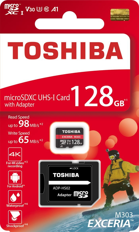 Toshiba 128GB 128G EXCERIA M303 with SD Adapter microSDXC UHS-I U3 Card 4K Class10 V30 A1 microSD Micro SD Card Memory Card Read 98MB/s Write 65MB/s (THN-M303R1280A2) TOSHIBA MEMORY CORPORATION
