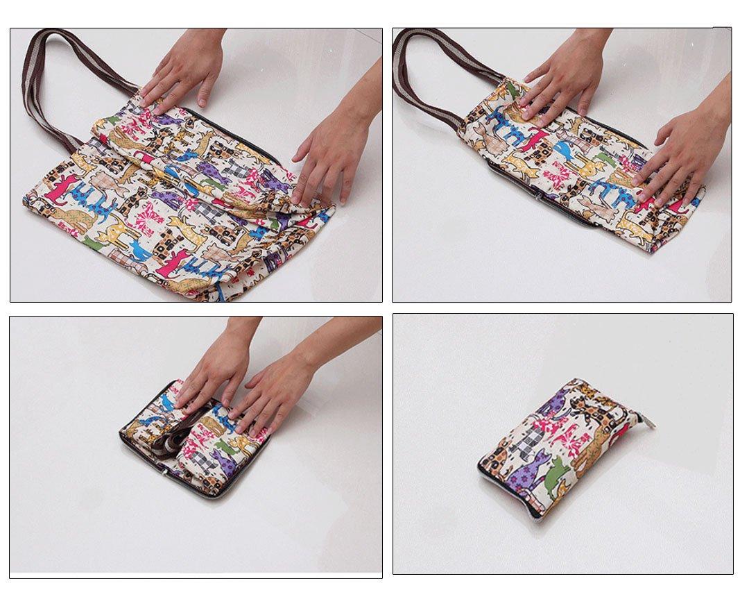 Millya - Bolsa para compras grande, creativa, impermeable y plegable. bolsa de viaje reciclable con bolsillo lateral., Oxford, azul, large: Amazon.es: Hogar