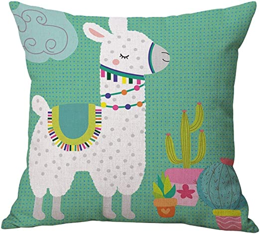 FJPT Throw Pillow Cover White Hair Llama Cactus Potted Plant Girl Love Cute Flowerpot Cotton Pillowslip for Sofa Bed Square Stand Size Pillowcase 20x20 Inch