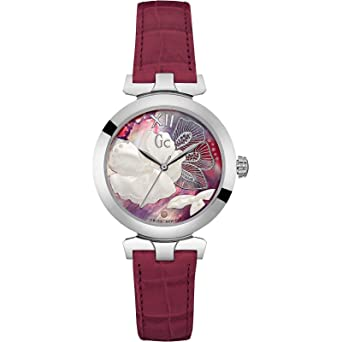 Guess Collection Women Analog Swiss Quartz Watch with Flower Dial and Red Leather Strap Y22005L3 Gc