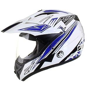 Qtech - Casque de moto/enduro/MX tout-terrain - idéal pour la route - Bleu - S (55-56 cm)