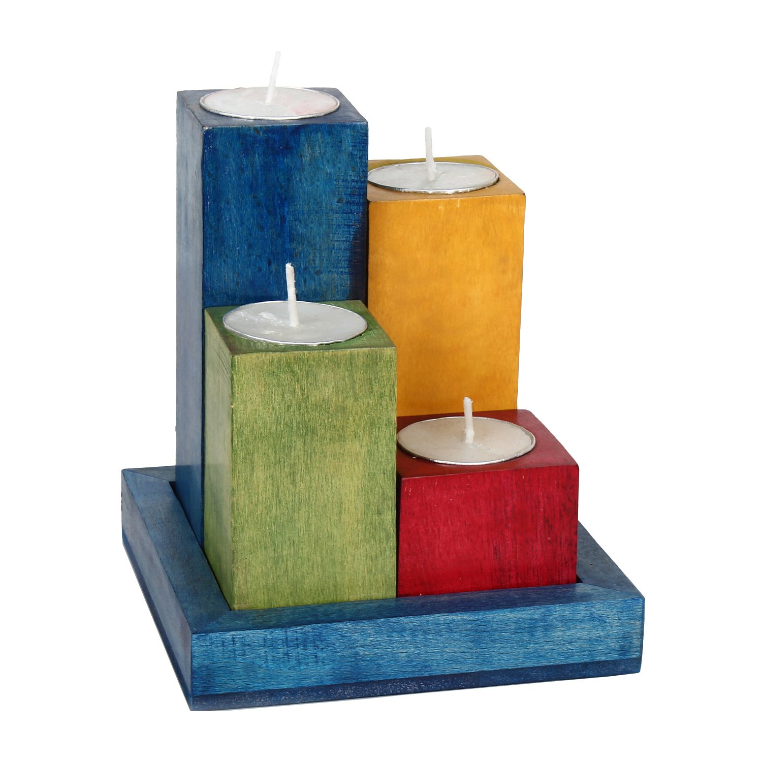 Hashcart Wooden Tealight Candle Holder Set with Tray in Multicolor Finish for Home Decor/Gift / Christmas