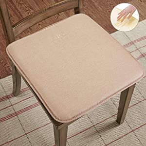 """Big Hippo Chair Pads,Memory Foam Chair Seat Cushion with Ties Soft Thicken Seat Padding for Home,Office Square Chair Cushion 16"""" x 16"""" Beige"""
