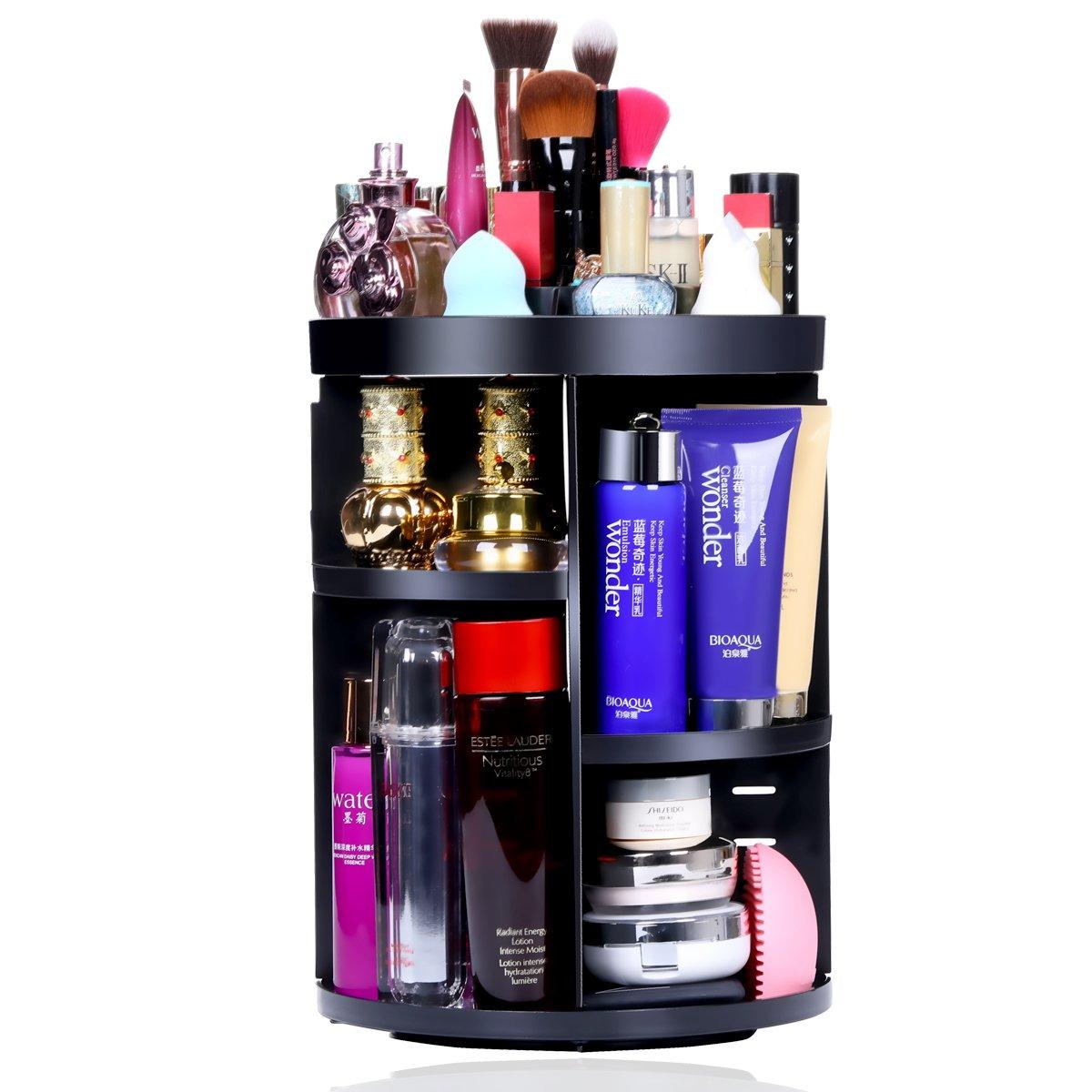 Aspior Bathroom Organizer 360 Rotating Cosmetic Storage Holders for Modern Vanity Countertop Makeup Accessories Display Large Capacity 7 Layers Adjustable Round Black