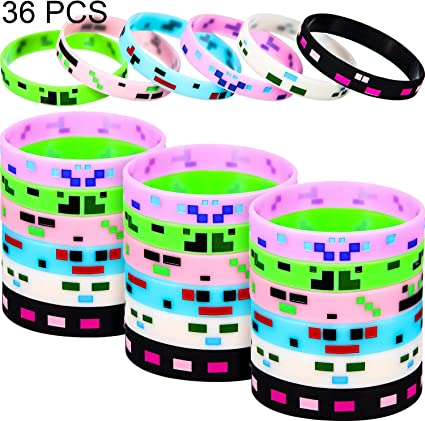 Pixelated Theme Bracelet Designs for Mining Themed or Crafting Style Party Supplies 36 Pieces, Style 1 36 Pieces Pixelated Miner Crafting Style Character Wristband Bracelets Silicone Wristbands
