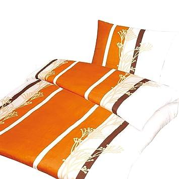 4 Tlg Microfaser Bettwäsche Ada Orangecreme Mit Reißverschluss 2x