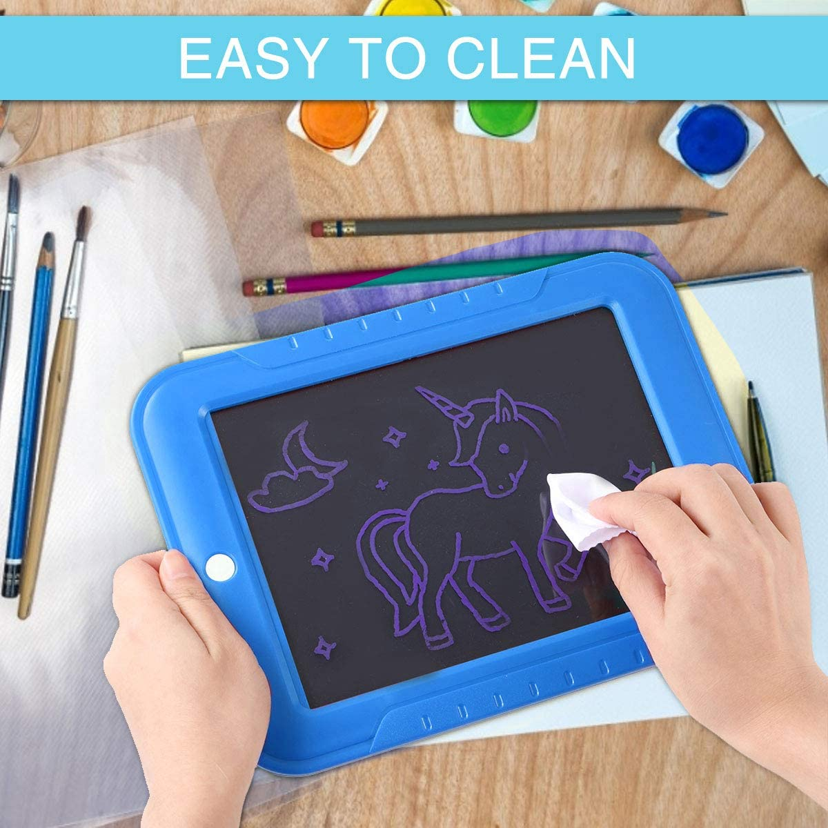 OUTERDO Portable Hi-Tech Drawing Board Doodle,Art,Write,Learning Tablet for Kid Christmas Birthday Party Light Up Board Magic LED Writing Wipes Clean 3 Pens 15 Stencil 8 Light Effect Sketch,Create