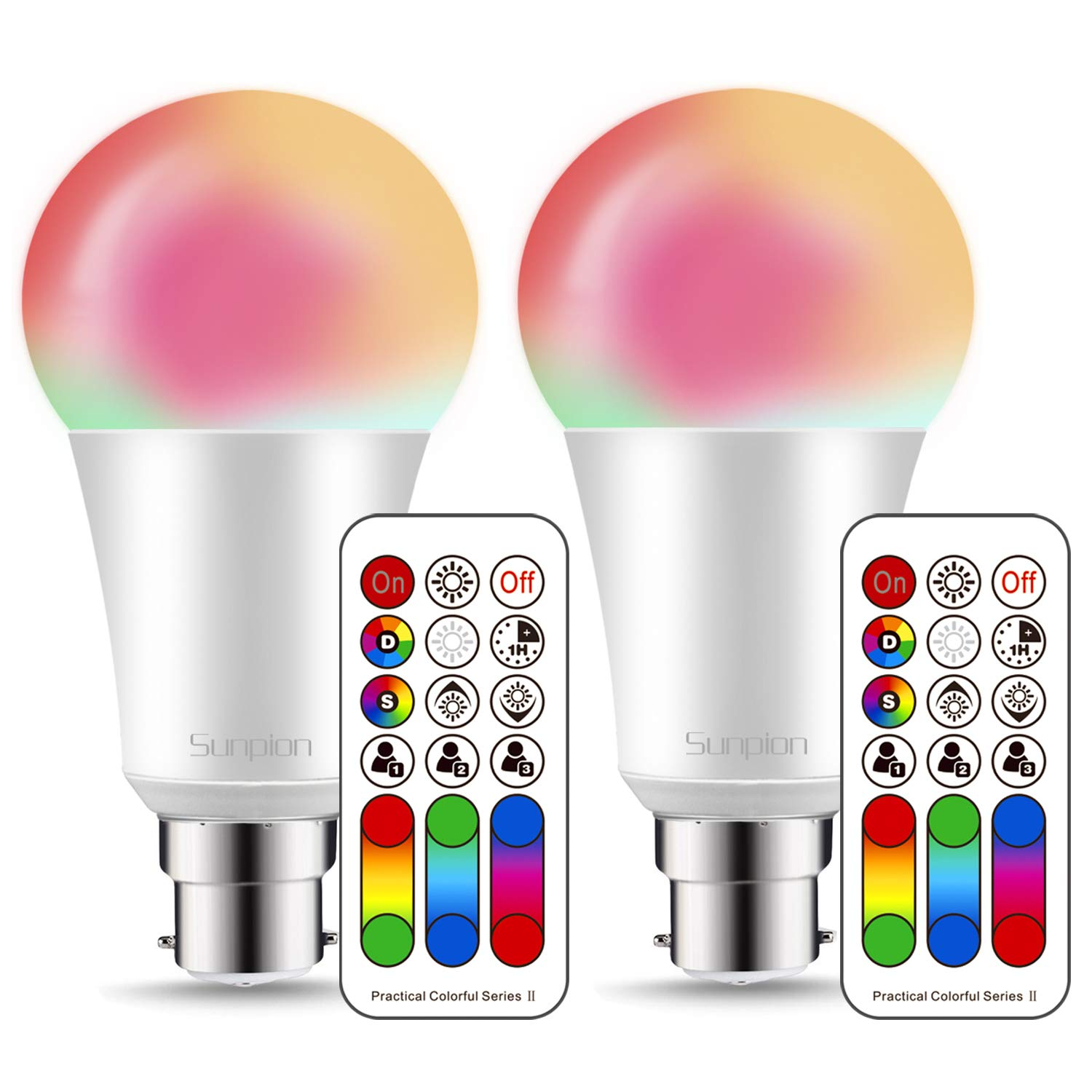 Colour Changing Led Bulb B22 10W Dimmable, Bayonet Colour Changing Light Bulb, 21key Remote Control, Dual Memory Function, Warm White(2700K) with 120 Color Choices Included Mood Ambiance Lighting Sunpion