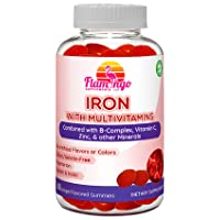 Iron Gummies Plus Multivitamin- Vitamin C, Zinc, B Complex, and Biotin for Fatigue...