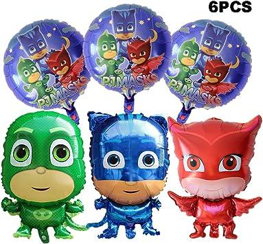 Amazon.com: Bsstr 6 piezas Pj máscaras globos suministros de ...