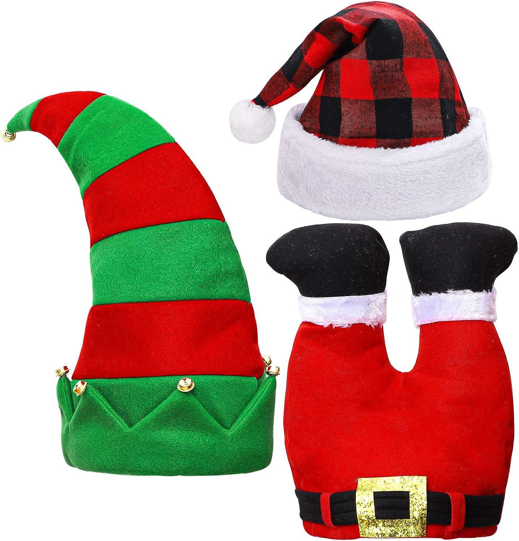 Aneco 3 Pack de sombreros de Navidad Novedad Navidad gorro de elfo sombrero divertido, Estilo C, Colores varios, Medium: Amazon.es: Ropa y accesorios