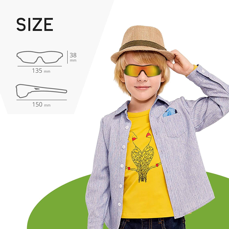 TOREGE Grilamid Tr90 Flexible Kids Sports Sunglasses Polarized Glasses for Junior Boys Girls Age 3-9 TR04