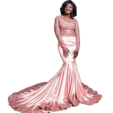 41745f4bbd1 Graceprom Women s Sexy Pink Mermaid Prom Dress Lace Appliques Long Sleeves Evening  Dress at Amazon Women s Clothing store