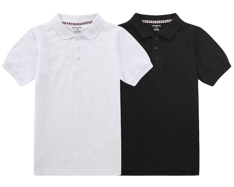 Bienzoe Boys Polo Boys Antimicrobial Breathable Short Sleeve Polo 2pcs