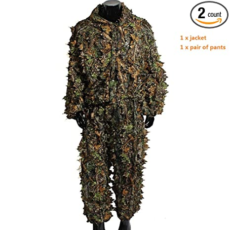 b326c6cfaabd2 Amazon.com : Boshen Woodland Camo Ghillie Suit 3D Camouflage Jungle Hunting  Clothing Set : Sports & Outdoors