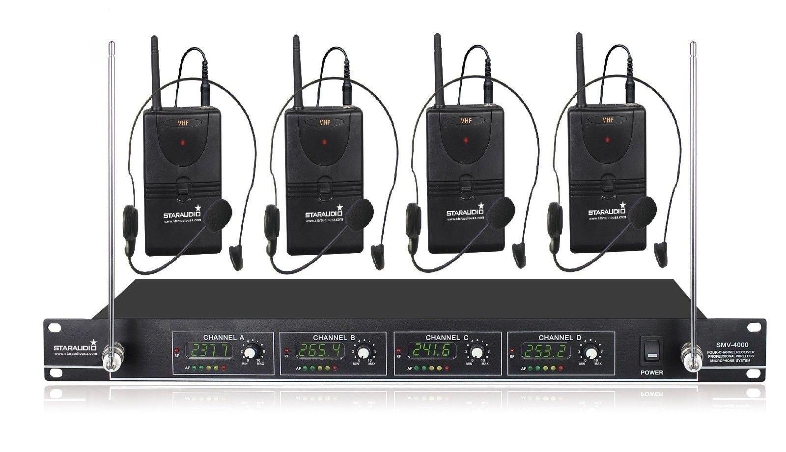 STARAUDIO SMV-4000B Pro 4 Channel PA DJ Stage Church Karaoke KTV Wireless Headset Lavalier Microphone System by STARAUDIO