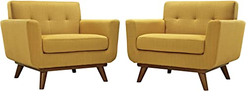 Modway Engage Mid-Century Modern Upholstered Leather Two Armchair Set in Citrus