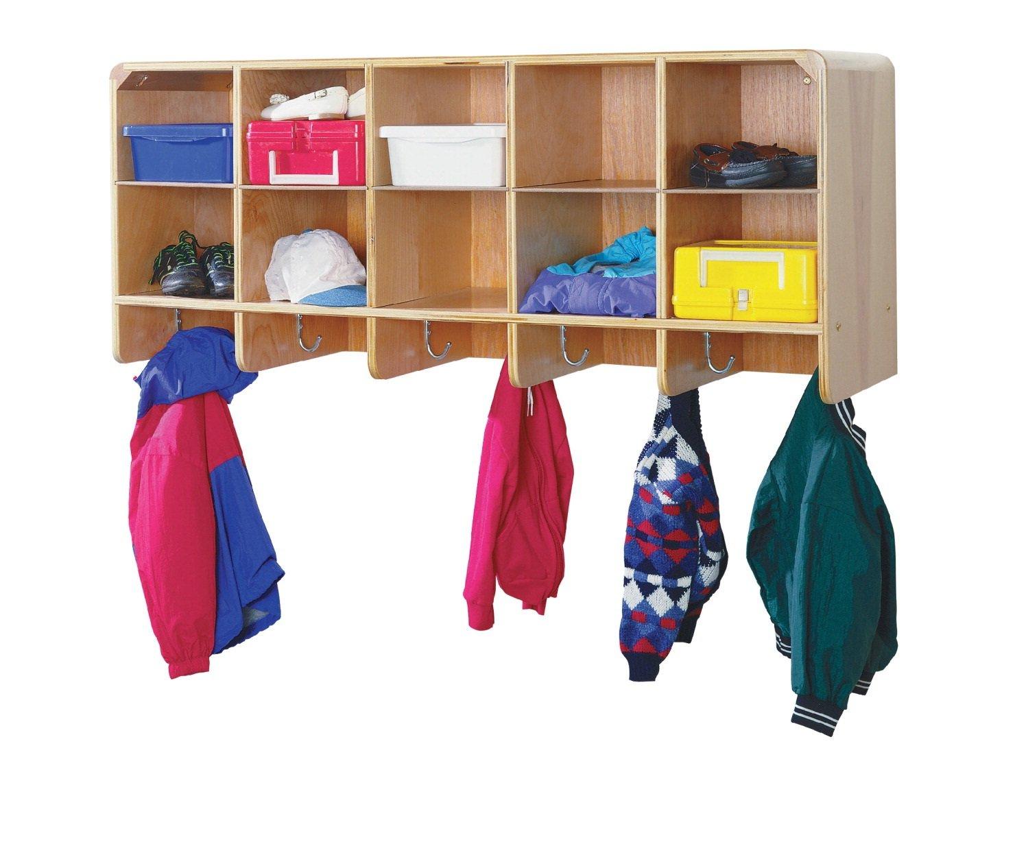 Korners for Kids 249474 Wall-Mounted Coat Locker, Wood, 47-3/4'' x 14-1/4'' x 19-3/4'', Natural Wood Tone