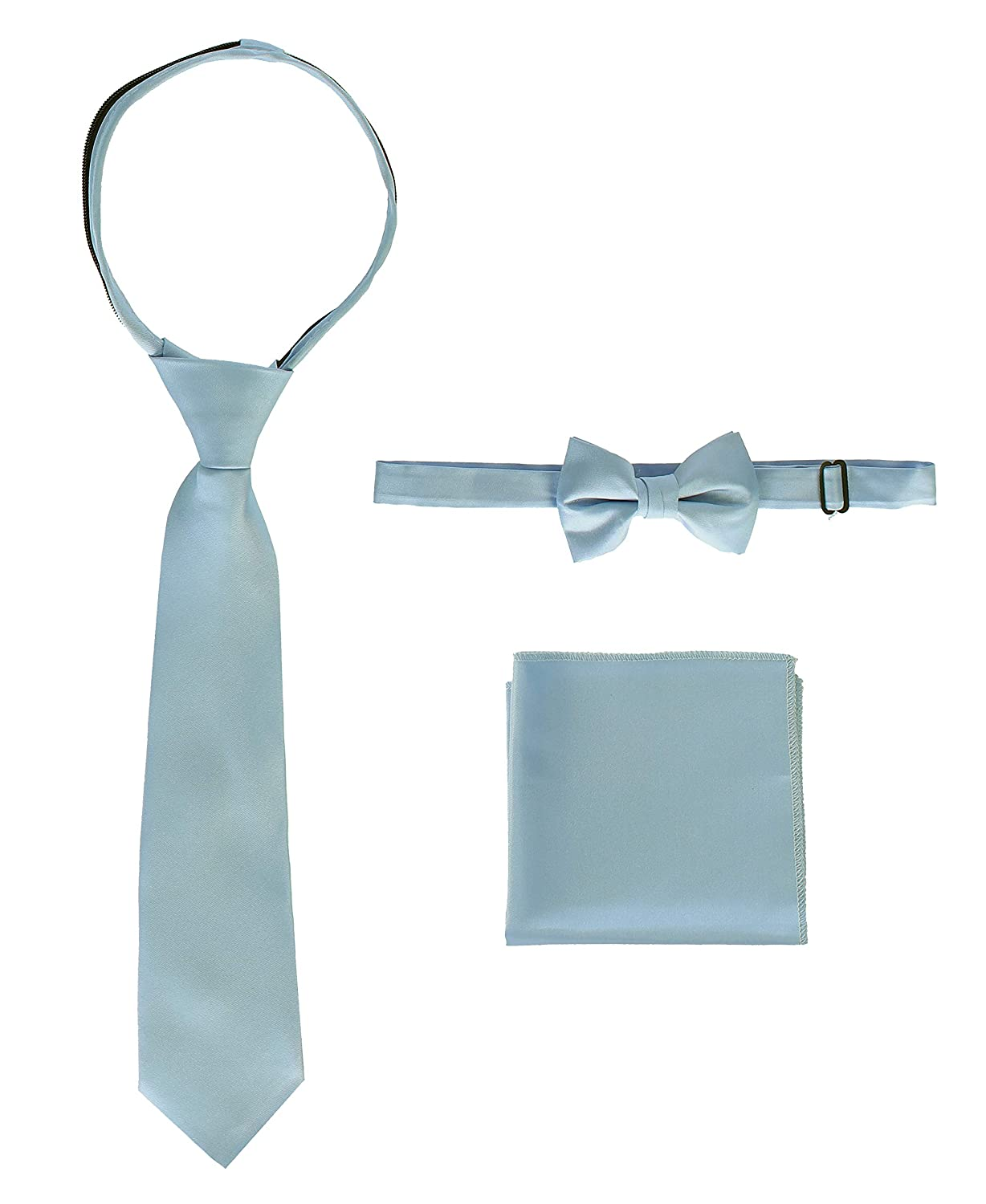 Gioberti Kid's and Boy's Solid Zipper Tie, Bow Tie and Handkerchief Set TS-8