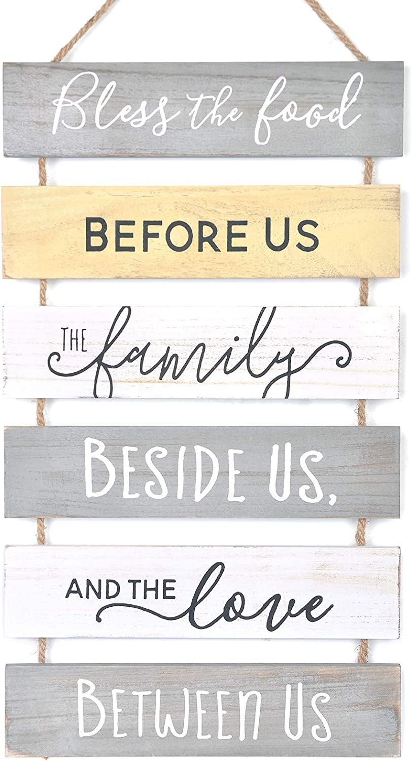 Soyo Hanging Wall Sign Rustic Wooden Wall Sign (Bless The Food, Before Us, The Family, Beside Us, The Love, Between Us) Wood Wall Decoration for Home Decor