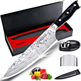 """MOSFiATA 8"""" Super Sharp Professional Chef's Knife with Finger Guard and Knife Sharpener, German High Carbon Stainless…"""