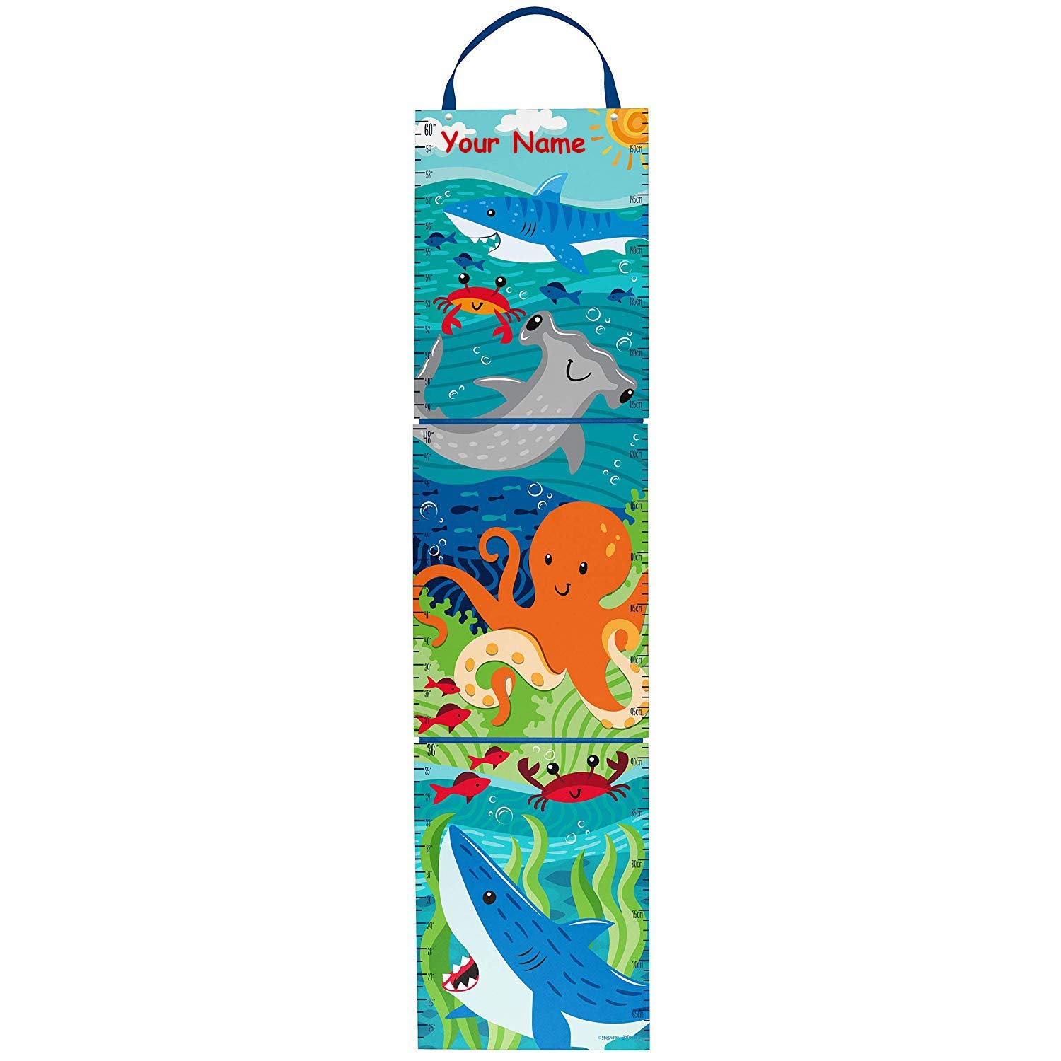Personalized Underwater Sea Creature Shark Keepsake Milestone Measuring Growth Chart for Boys and Girls with Custom Name - 5 Feet
