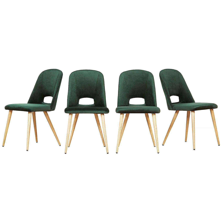 In Velluto Cucina Colore Verde Soggiorno 4 Sedie Imbottite Per Sala Da Pranzo Mcombo Sedie
