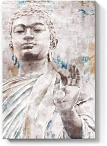 "Lamplig Buddha Wall Art Zen Canvas Prints Beige Buddha Statue Pictures White and Gray Painting Framed Vintage Home Decor Rustic Blue Artwork for Living Room Yoga Bedroom 16""x24"""