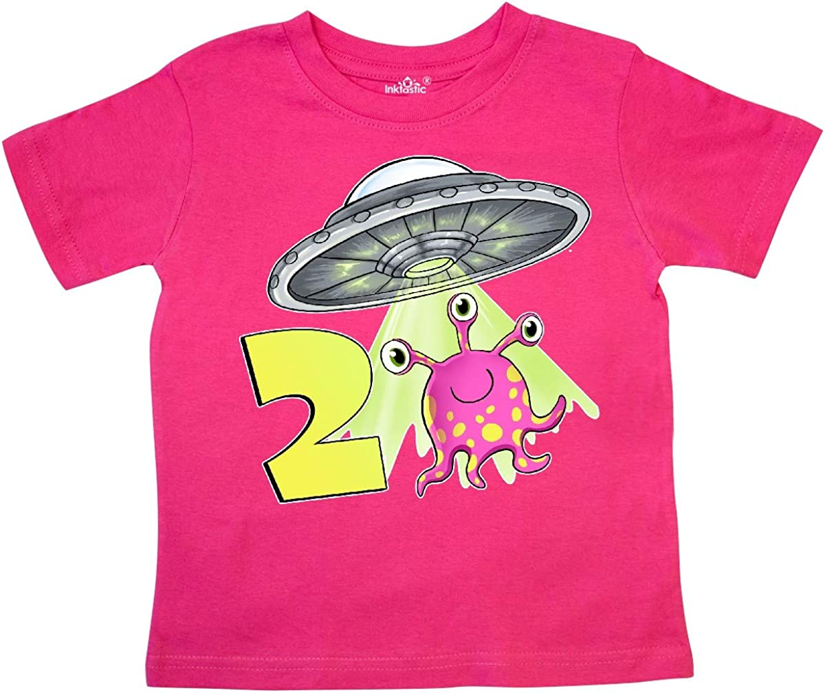 inktastic Second Birthday Cute Pink Alien UFO Toddler T-Shirt