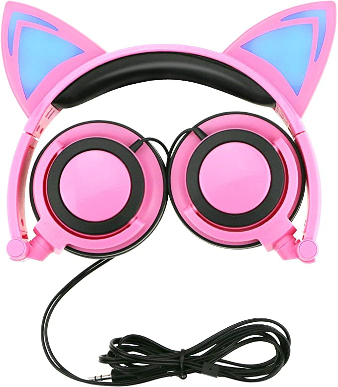 Cat Ear Headphones with Glowing Ears Cartoon Headphones for Kids Foldable Ear Kids Headphone with Glowing Light for Girls Cosplay Fans Compatible with