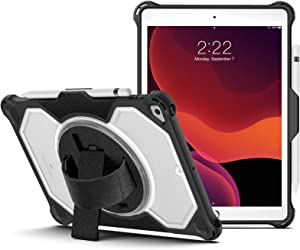 Laisee iPad 8th/7th Generation Case with 360 Rotating Stand&Hand Strap, Protective iPad case 8th/7th Gen with Pencil Holder, iPad 10.2 Case for New iPad 8th Generation 2020/iPad 7th Generation 2019