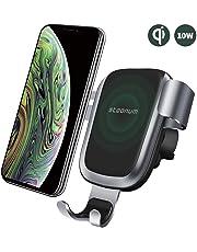 steanum Caricatore Wireless Auto,Qi Ricarica Rapida Wireless Auto Vento Supporto Telefono per iPhone XS Max/Xr/X/8/8Plus,Samsung Note 5, Galaxy S9/S8//S7/S6,Nero