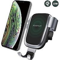 steanum Qi Ladestation Auto, Wireless Charger Auto Qi Handy Autohalterung Kompatible für iPhone 11 Pro Max/Xs Max/Xr/X/8 8Plus, Galaxy S9 S8 S7 S6, Note 5/8/9, Schwarz