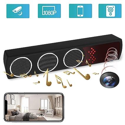 Altavoz de cámara Oculta - Cámara espía - Mini 1080P WiFi HD Visión Nocturna IR Detección de Movimiento ...