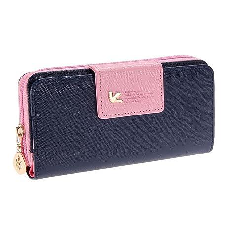 pgxt Mujer Multi-Card Posición Dos Fold Monedero de la cremallera larga cartera, azul